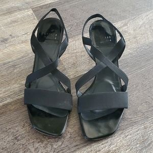 Stuart Weitzman black strips sandals size 7.5M